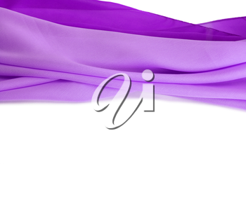 Violet silk fabric background. Isolated.