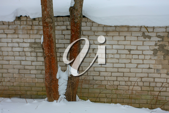 white brick wall in the winter in Cesis, Latvia.