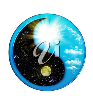 Royalty Free Clipart Image of a Day and Night Yin and Yang Symbol
