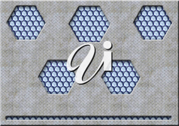 Royalty Free Clipart Image of a Background With Five Hexagons