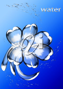 Royalty Free Clipart Image of a Flower Formed From Water
