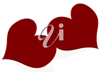 Two red heart over white