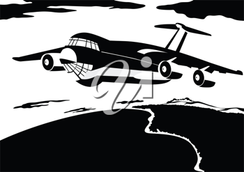 Royalty Free Clipart Image of a Passenger Airline