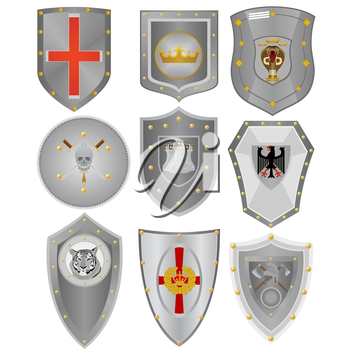 Various knightly boards with symbolics. An illustration on a white background.