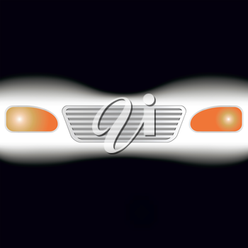 Abstract image of glowing headlights. The illustration on a black background.