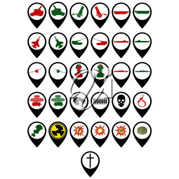 Set of icons on the military theme. The illustration on white background.