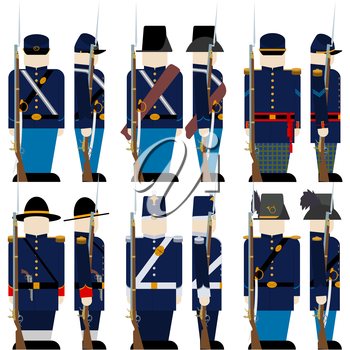 The Armed Forces of the Union army in the Civil War the United States. The illustration on a white background.