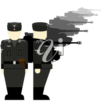 Armored vehicles and tank crews Wehrmacht in World War II. The illustration on a white background.