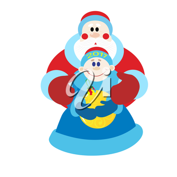 Santa Claus, Christmas characters of Russian folklore. The illustration on a white background.