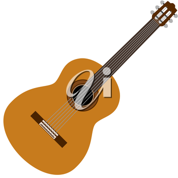 Musical instrument guitar. The illustration on a white background.