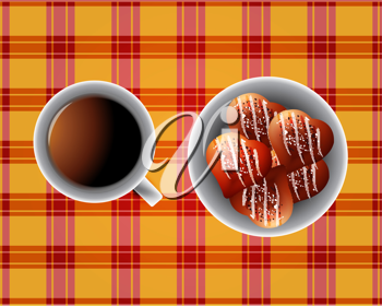 Royalty Free Clipart Image of a Cup of Coffee and a Bowl of Heart Shaped Cookies on a Checkered Tablecloth