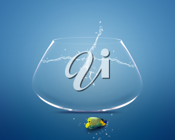 Royalty Free Photo of an Angelfish Lying Outside a Fishbowl