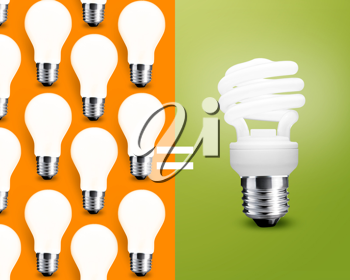 Royalty Free Photo of an Energy Saving Light Bulb on a Green Background, With Several Regular Light Bulbs on an Orange Background Split Half and Half