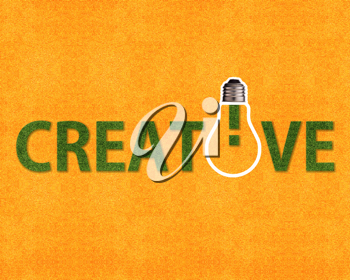 Royalty Free Photo of a Sign Spelling Creative with a Lightbulb on the Letter I