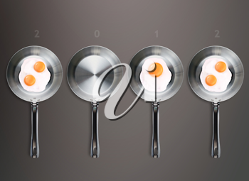 Royalty Free Photo of a Calender With Four Frying Pans With Eggs in Three of Them, With the Numbers 2012 Above the Pans
