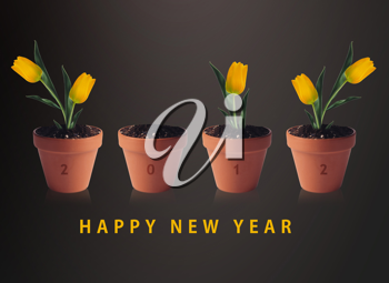 Royalty Free Photo of a Happy New Year Background With 4 Potted Tulips Representing 2012
