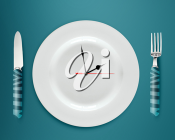 Royalty Free Photo of a Dinner Plate With a Time of Day on it and a knife and Fork