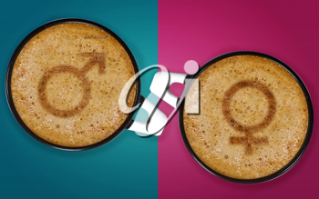 Royalty Free Photo of Two Cups of Cappucino With The Male and Female Signs on a Purple and Blue Background