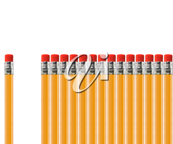 Royalty Free Photo of a Row of Pencils with a Space of Pencils Missing