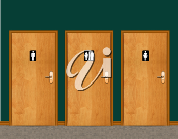Royalty Free Photo of a Male and Female Restroom Doors