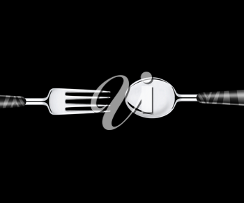 Royalty Free Photo of a Fork and a Spoon on a Black Background