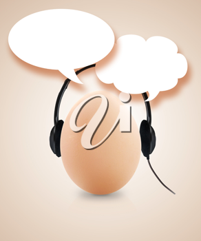 fresh egg with headset and speech bubble.