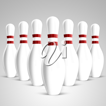 Bowling pins on gradient background