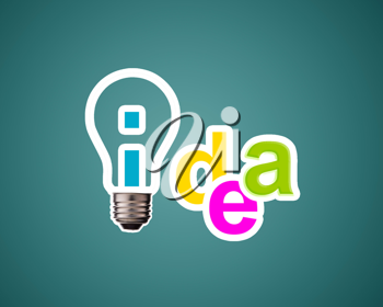 Idea word with lightbulb.