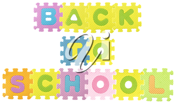 Back to School sentence created from Alphabet puzzle isloated on white background , with clipping path.