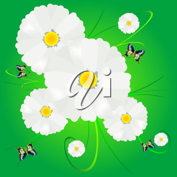 Royalty Free Clipart Image of a Flower Background With Butterflies
