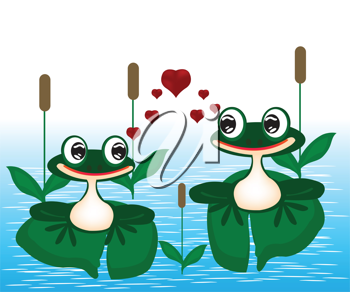Royalty Free Clipart Image of Two Frogs in Love