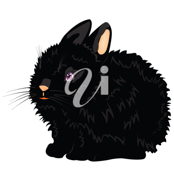 Royalty Free Clipart Image of a Black Rabbit
