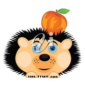 Vector illustration of the hedgehog carrying apple