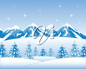 Vector illustration winter wood and mountain tops