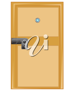 Wooden door with outboard lock on white background