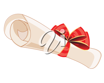Package of the paper decorated by red bow on white background is insulated