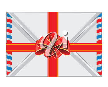 The Postal envelope decorated by red bow.Vector illustration