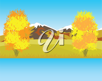 Vector illustration of the beautiful landscape by autumn