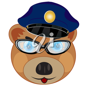 Cartoon bear in police service cap and spectacles