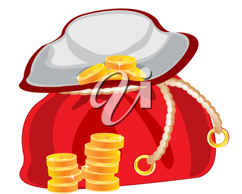 Red bag with golden coin on white background