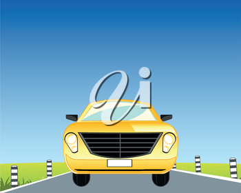 The Yellow passenger car goes on road.Vector illustration