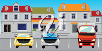 The Street of the city and parking the cars.Vector illustration