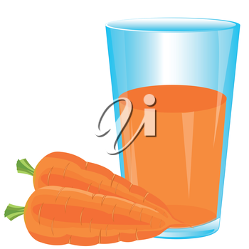 Juice from carrot on white background is insulated