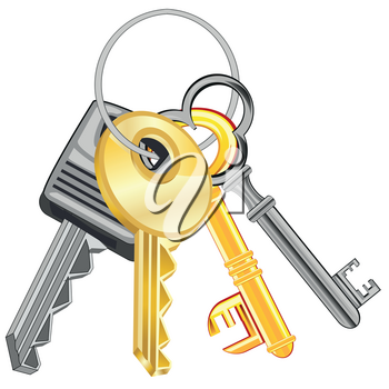 Much keys from doors on white background is insulated