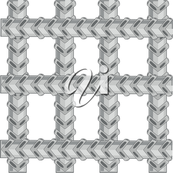 Lattice from metallic twig of armature on white background