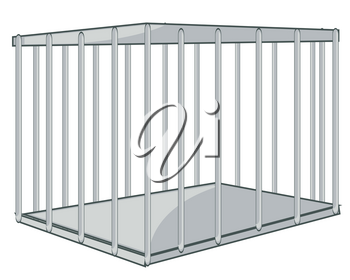 Vector illustration strong and square iron hutch from twig