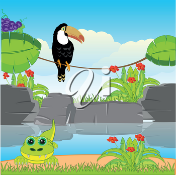 Vector illustration tropical jungle and riverside with animal and bird