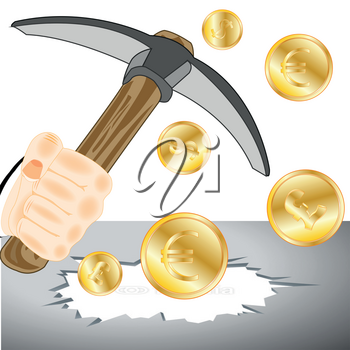 Human hand with tools pickax and coins in hole