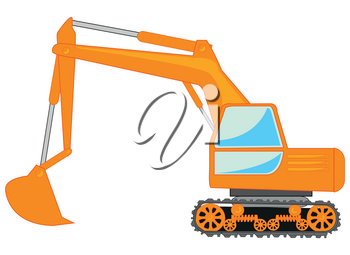 Vector illustration of the special technology for digging of ground excavator