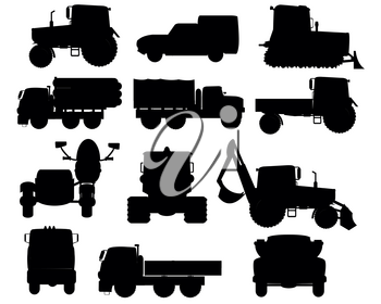 Vector illustration of the special cars and tractor silhouettes